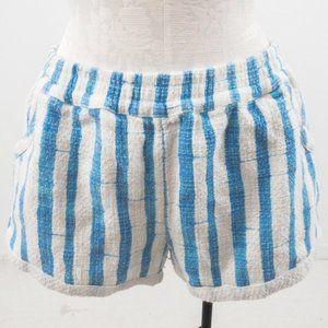 Anthropologie Cotton Striped Shorts Blue White M